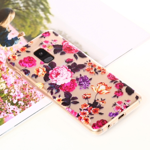 Flower Pattern Transparent Soft TPU Protective Back Case for Galaxy A8+ (2018) protective plastic tpu back case for samsung galaxy s5 pink transparent