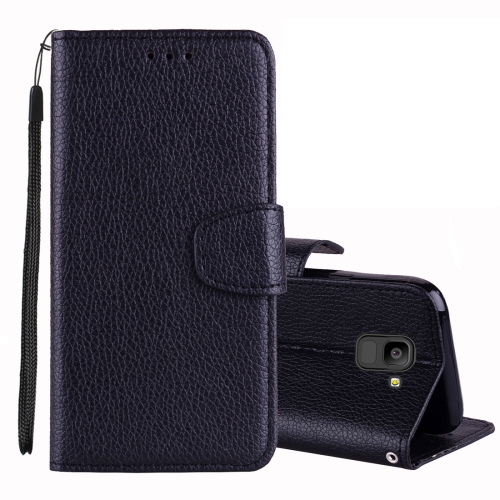 Litchi Texture Horizontal Flip Leather Case for Galaxy J6 (2018) (EU Version) , with Wallet & Holder & Card Slots & Lanyard (Black)