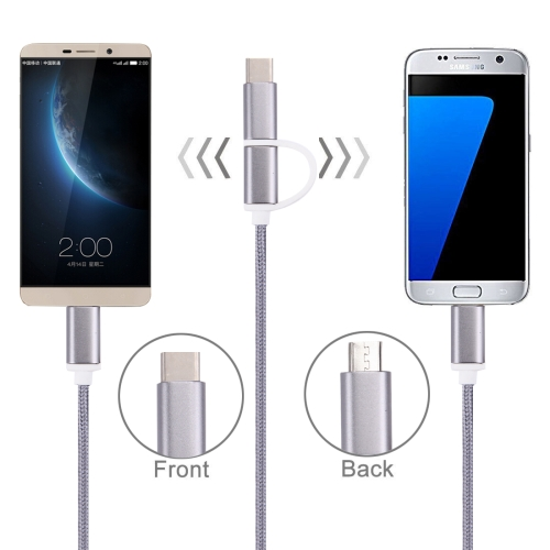 Buy 1m 2A Woven Style Metal Head 2 in 1 Type C & Micro USB to USB Data / Charger Cable for $1.48 in SUNSKY store
