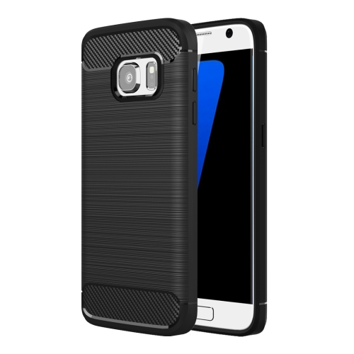 For Galaxy S7 / G930 Brushed Texture Fiber TPU Rugged Armor Protective Case(Black)