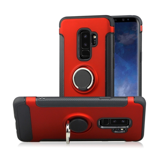 Buy For Samsung Galaxy S9+ TPU + PC Shockproof Protective Back Case with Rotatable Ring Holder, Red for $2.42 in SUNSKY store