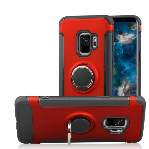 Buy For Samsung Galaxy S9 TPU + PC Shockproof Protective Back Case with Rotatable Ring Holder, Red for $2.42 in SUNSKY store