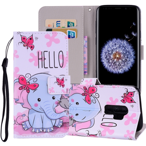 Butterfly Elephant Pattern Colored Drawing Horizontal Flip Leather Case for Galaxy S9 Plus, with Holder & Card Slots & Wallet & Lanyard