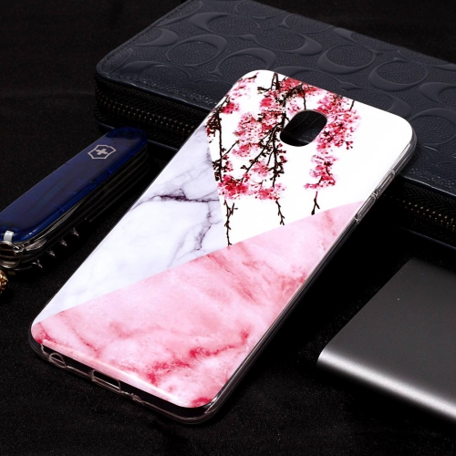 Marble Pattern Soft TPU Case For Galaxy J8 (2018)(Plum Blossom)