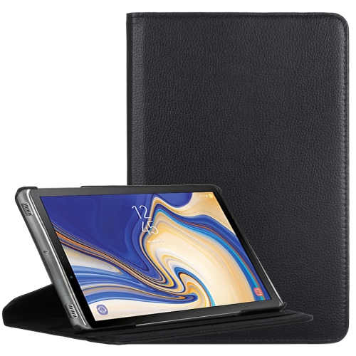 Litchi Texture Horizontal Flip 360 Degrees Rotation Leather Case for Galaxy Tab S4 10.5, with Holder (Black)