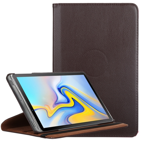 Litchi Texture Horizontal Flip 360 Degrees Rotation Leather Case for Samsung Galaxy Tab A 10.5 T590, with Holder(Brown)
