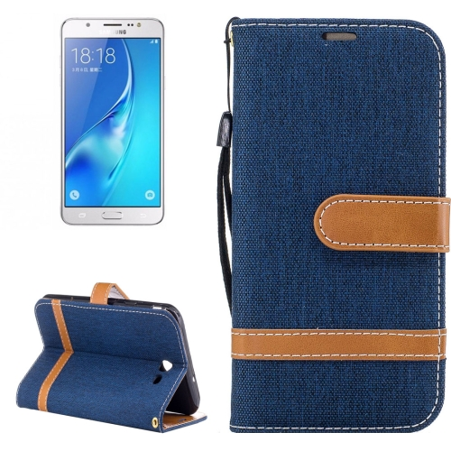 Buy For Samsung Galaxy J7, 2017 (US Version) Denim Texture Leather Case with Holder & Card Slots & Wallet & Lanyard (Dark Blue) for $2.68 in SUNSKY store