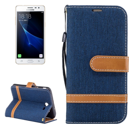 Buy For Samsung Galaxy J3, 2017 (US Version) Denim Texture Leather Case with Holder & Card Slots & Wallet & Lanyard (Dark Blue) for $2.68 in SUNSKY store