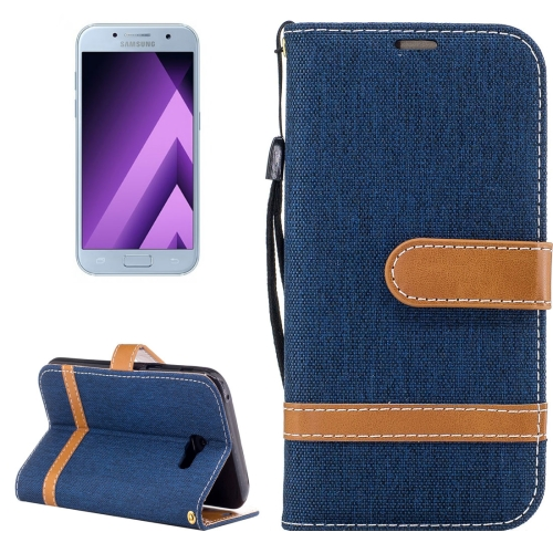 Buy For Samsung Galaxy A5, 2017 Denim Texture Leather Case with Holder & Card Slots & Wallet & Lanyard (Dark Blue) for $2.68 in SUNSKY store