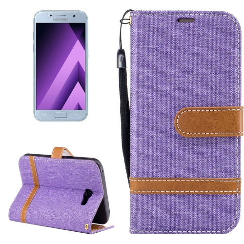 Buy For Samsung Galaxy A5, 2017 Denim Texture Leather Case with Holder & Card Slots & Wallet & Lanyard, Purple for $2.67 in SUNSKY store
