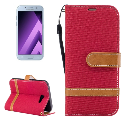 Buy For Samsung Galaxy A5, 2017 Denim Texture Leather Case with Holder & Card Slots & Wallet & Lanyard, Red for $2.67 in SUNSKY store