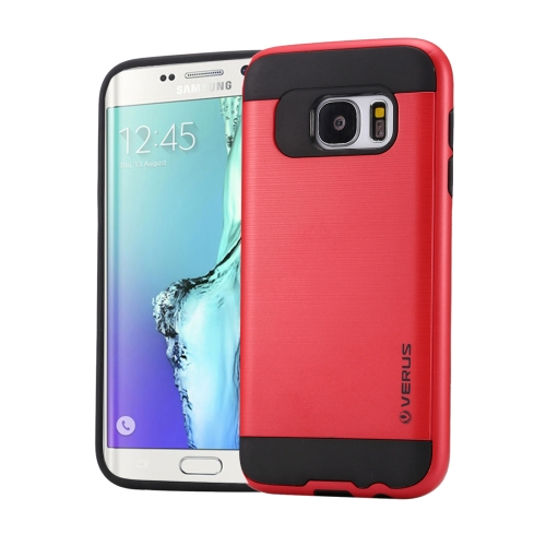 Buy For Samsung Galaxy S6 Edge / G925 Brushed Texture PC + TPU Protective Case, Red for $1.49 in SUNSKY store