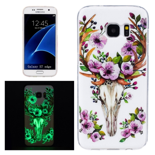 Buy For Samsung Galaxy S7 Edge / G935 Noctilucent Sika Deer Pattern IMD Workmanship Soft TPU Protective Case for $1.27 in SUNSKY store