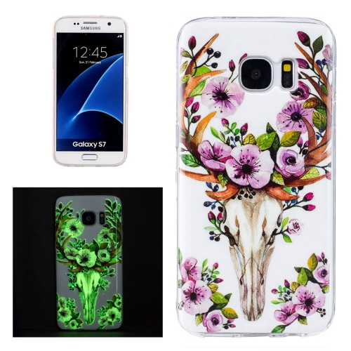 Buy For Samsung Galaxy S7 / G930 Noctilucent Sika Deer Pattern IMD Workmanship Soft TPU Protective Case for $1.27 in SUNSKY store