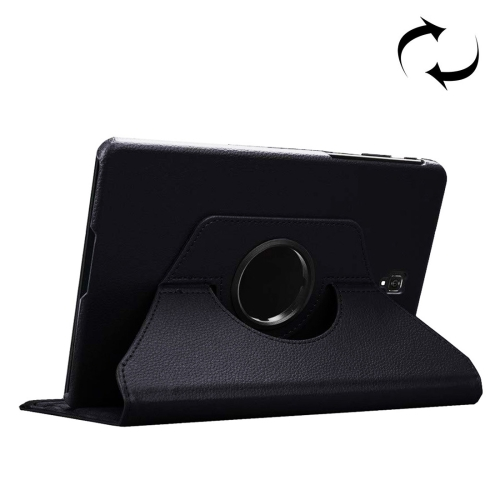 Litchi Texture Horizontal Flip 360 Degrees Rotation Leather Case for Galaxy Tab S4 10.5 T830 / T835, with Holder (Black)