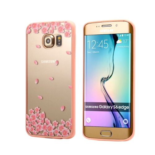 For Samsung Galaxy S6 Edge / G925 Cherry Blossom Flower Pattern Transparent Plastic Protective Case