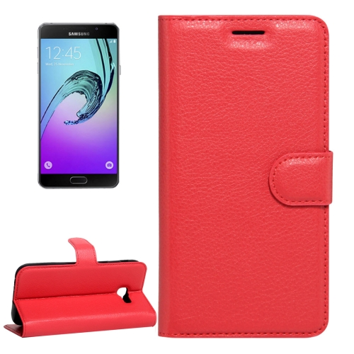 Buy For Samsung Galaxy A5, 2017 / A520 Litchi Texture Horizontal Flip Leather Case with Magnetic Buckle & Holder & Card Slots & Wallet, Red for $2.33 in SUNSKY store