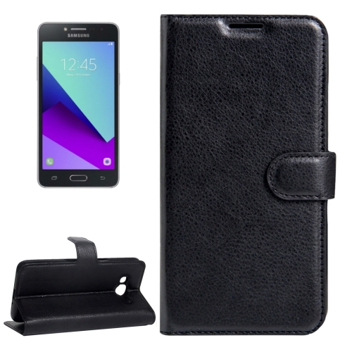 For Galaxy J2 Prime Litchi Texture Horizontal Flip Leather Case with Magnetic Buckle & Holder & Card Slots & Wallet (Black)