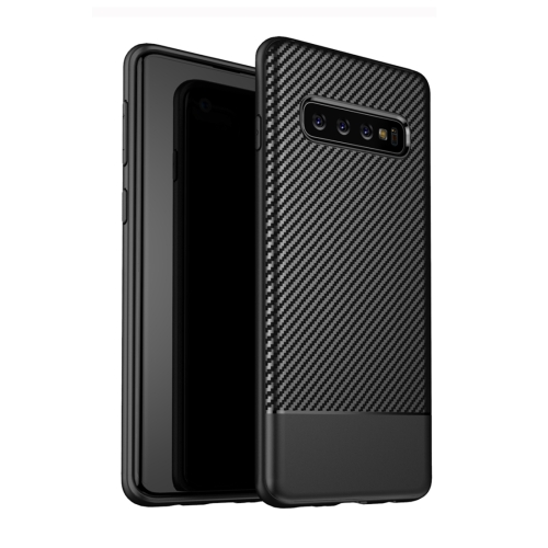 Lewei Series Carbon Fiber Texture TPU Protective Case for Galaxy S10 (Black)