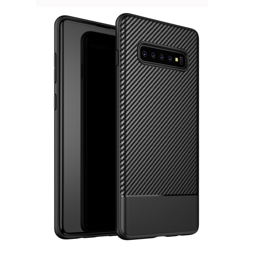 Lewei Series Carbon Fiber Texture TPU Protective Case for Galaxy S10 Plus (Black)