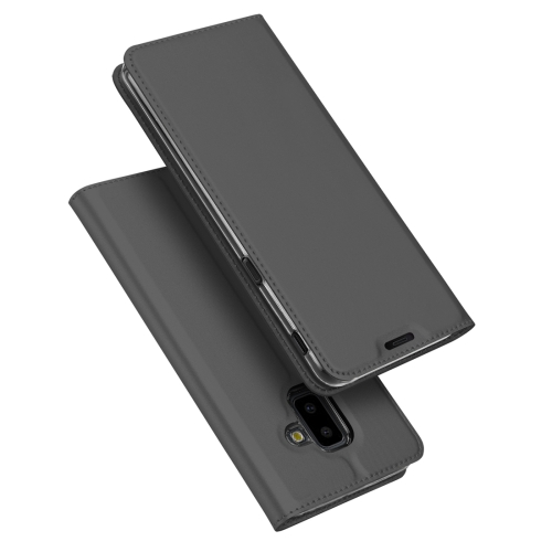 DUX DUCIS Skin Pro Series Horizontal Flip PU + TPU Leather Case for Samsung Galaxy J6 Plus, with Holder & Card Slots(Grey)