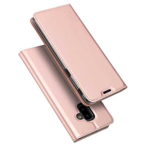 DUX DUCIS Skin Pro Series Horizontal Flip PU + TPU Leather Case for Samsung Galaxy J6 Plus, with Holder & Card Slots(Rose Gold)