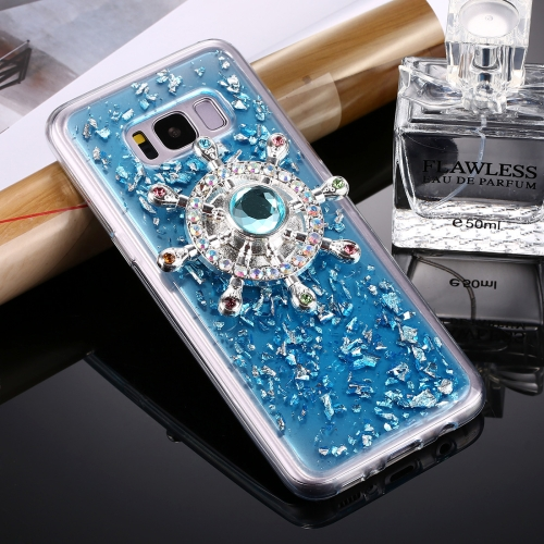 Buy Fevelove for Samsung Galaxy S8 Scattered Platinum Pattern Rudder Wheel Shape Fidget Hand Spinner TPU Protective Back Cover Case, Blue for $5.65 in SUNSKY store