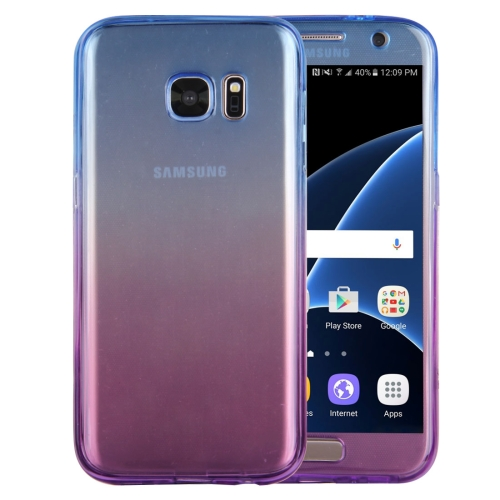 Buy For Samsung Galaxy S7 / G930 Double-sided Gradient Color TPU Protective Case Back Cover (Blue + Purple) for $1.28 in SUNSKY store