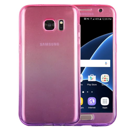 Buy For Samsung Galaxy S7 / G930 Double-sided Gradient Color TPU Protective Case Back Cover (Magenta + Purple) for $1.28 in SUNSKY store