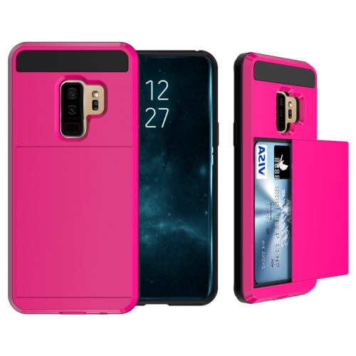 Buy For Samsung Galaxy S9+ Detachable Dropproof Protective Back Cover Case with Slider Card Slot, Magenta for $2.29 in SUNSKY store