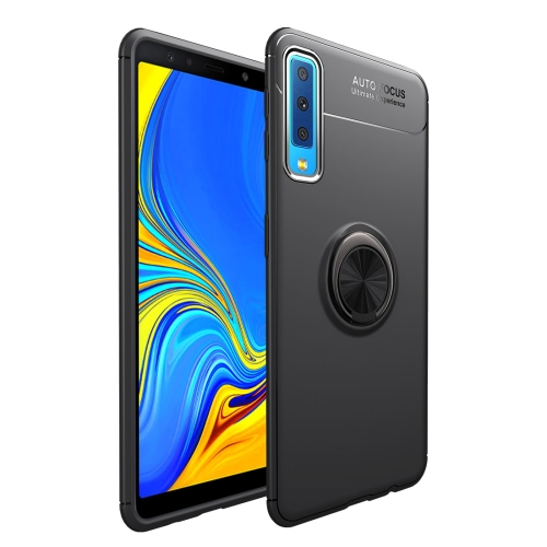 lenuo Shockproof TPU Case for Samsung Galaxy A7 (2018), with Invisible Holder (Black)