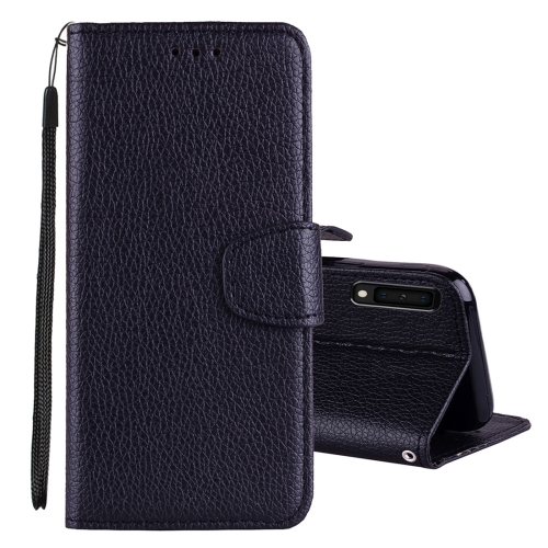 Litchi Texture Horizontal Flip Leather Case for Galaxy A7 (2018), with Holder & Card Slots & Wallet & Lanyard (Black)