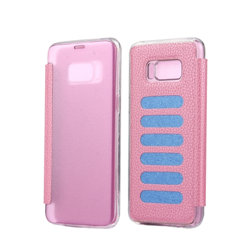 Buy For Samsung Galaxy S8 + / G955 Litchi Texture Paste Skin High Transparency Horizontal Flip Leather Case with Sleep / Wake-up Function, Pink for $2.83 in SUNSKY store