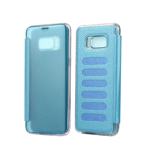 Buy For Samsung Galaxy S8 + / G955 Litchi Texture Paste Skin High Transparency Horizontal Flip Leather Case with Sleep / Wake-up Function, Blue for $2.83 in SUNSKY store