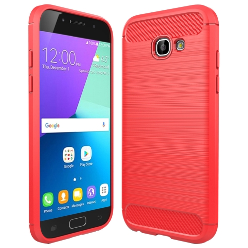 Buy For Smasung Galaxy A5 / A520, 2017 Brushed Carbon Fiber Texture Shockproof TPU Protective Case, Red for $2.01 in SUNSKY store