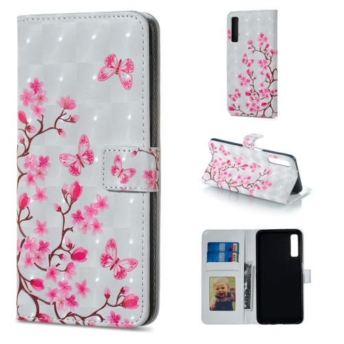 Butterfly Love Flower Pattern Horizontal Flip Leather Case for Galaxy A7 (2018), with Holder & Card Slots & Photo Frame & Wallet