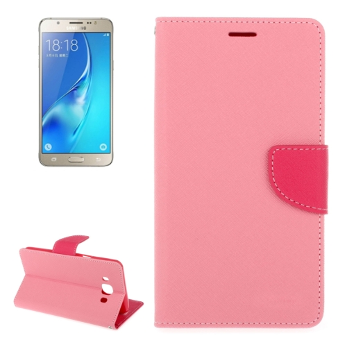 Buy For Samsung Galaxy J5, 2016 / J510 Cross Texture Horizontal Flip Leather Case with Holder & Card Slots & Wallet, Pink for $2.16 in SUNSKY store