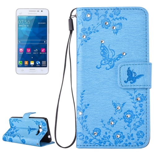 Buy For Samsung Galaxy Grand Prime / G530 Diamond Encrusted Butterflies Love Flowers Pattern Horizontal Flip Leather Case with Holder & Card Slots & Wallet & Lanyard, Blue for $2.58 in SUNSKY store