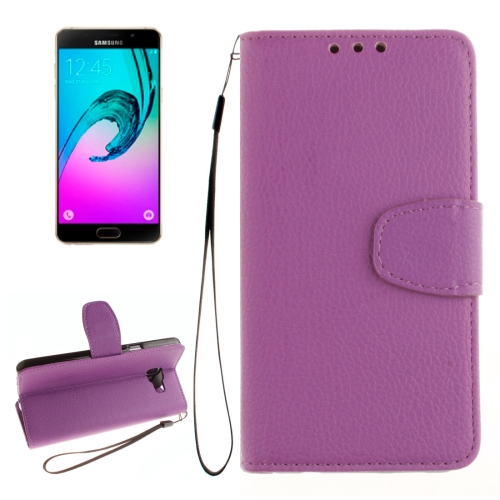 Buy For Samsung Galaxy A7 / A710 Litchi Texture Horizontal Flip Leather Case with Holder & Card Slots & Wallet & Photo Frame & Lanyard, Purple for $2.42 in SUNSKY store
