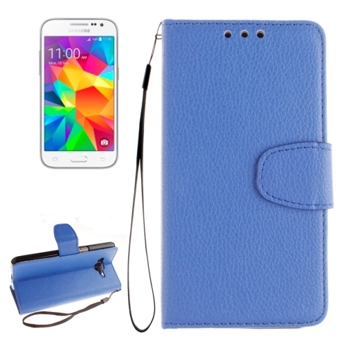 Buy For Samsung Galaxy Core Prime / G360 Litchi Texture Horizontal Flip Leather Case with Holder & Card Slots & Wallet & Photo Frame & Lanyard, Blue for $2.42 in SUNSKY store