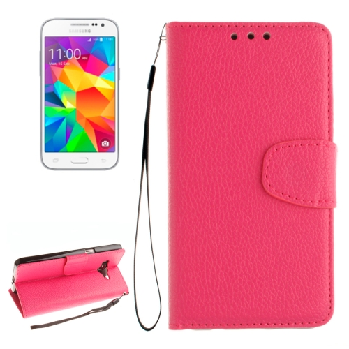 Buy For Samsung Galaxy Core Prime / G360 Litchi Texture Horizontal Flip Leather Case with Holder & Card Slots & Wallet & Photo Frame & Lanyard, Magenta for $2.42 in SUNSKY store