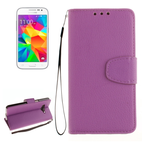 Buy For Samsung Galaxy Core Prime / G360 Litchi Texture Horizontal Flip Leather Case with Holder & Card Slots & Wallet & Photo Frame & Lanyard, Purple for $2.42 in SUNSKY store