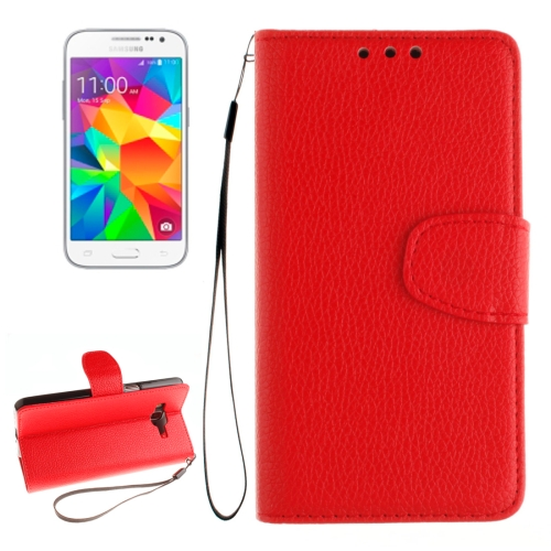 Buy For Samsung Galaxy Core Prime / G360 Litchi Texture Horizontal Flip Leather Case with Holder & Card Slots & Wallet & Photo Frame & Lanyard, Red for $2.42 in SUNSKY store