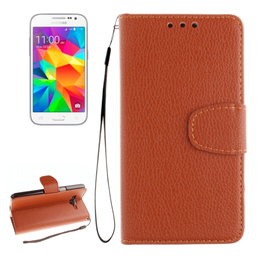 Buy For Samsung Galaxy Core Prime / G360 Litchi Texture Horizontal Flip Leather Case with Holder & Card Slots & Wallet & Photo Frame & Lanyard, Brown for $2.42 in SUNSKY store