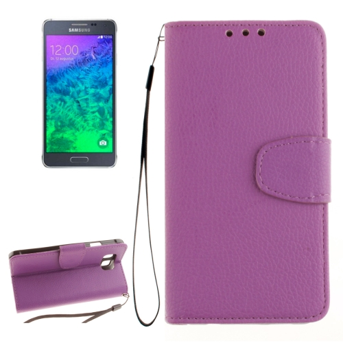 Buy For Samsung Galaxy Alpha / G850F Litchi Texture Horizontal Flip Leather Case with Holder & Card Slots & Wallet & Photo Frame & Lanyard, Purple for $2.42 in SUNSKY store