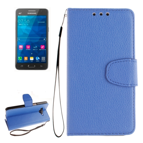 Buy For Samsung Galaxy Grand Prime / G530H / G5308W Litchi Texture Horizontal Flip Leather Case with Holder & Card Slots & Wallet & Photo Frame & Lanyard, Blue for $2.42 in SUNSKY store