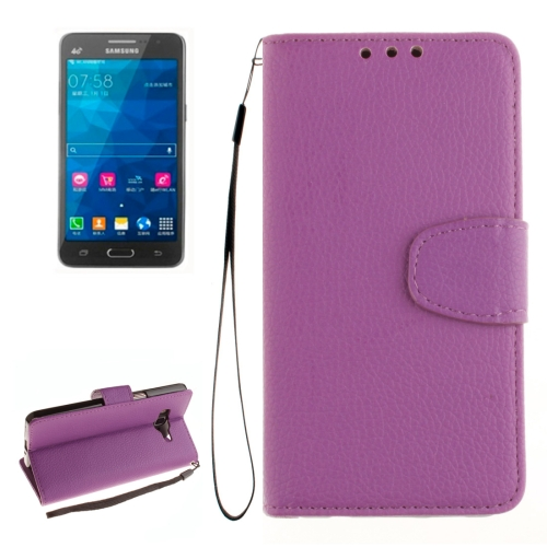 Buy For Samsung Galaxy Grand Prime / G530H / G5308W Litchi Texture Horizontal Flip Leather Case with Holder & Card Slots & Wallet & Photo Frame & Lanyard, Purple for $2.42 in SUNSKY store