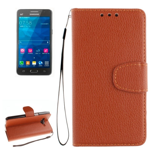 Buy For Samsung Galaxy Grand Prime / G530H / G5308W Litchi Texture Horizontal Flip Leather Case with Holder & Card Slots & Wallet & Photo Frame & Lanyard, Brown for $2.42 in SUNSKY store