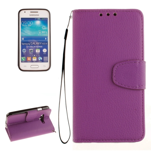 Buy For Samsung Galaxy Ace 4 / G313H Litchi Texture Horizontal Flip Leather Case with Holder & Card Slots & Wallet & Photo Frame & Lanyard, Purple for $2.42 in SUNSKY store