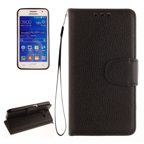 Buy For Samsung Galaxy Core 2 / G355 Litchi Texture Horizontal Flip Leather Case with Holder & Card Slots & Wallet & Photo Frame & Lanyard, Black for $2.42 in SUNSKY store